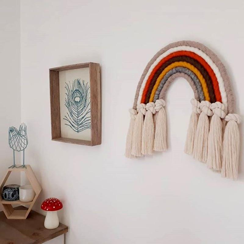 อุปกรณ์ตกแต่งบ้าน Rainbow Handmade เครื่องประดับ Nordic สดเด็กผนังตกแต่งแขวน