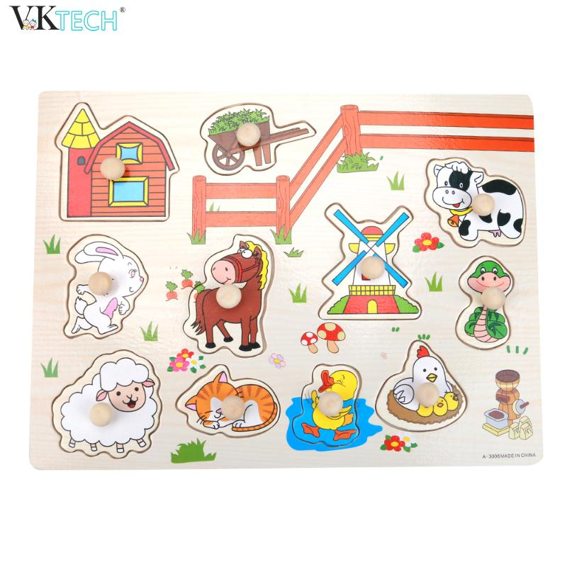 Kid Early Learn Educational Toys Cartoon Animal 3D Puzzles Baby Hand Grasp Wooden Jigsaw Puzzle Intelligence Kids Educationa Toy baby toys new cartoon 3d jigsaw puzzle building toys for children wooden traffic animal design kids toy