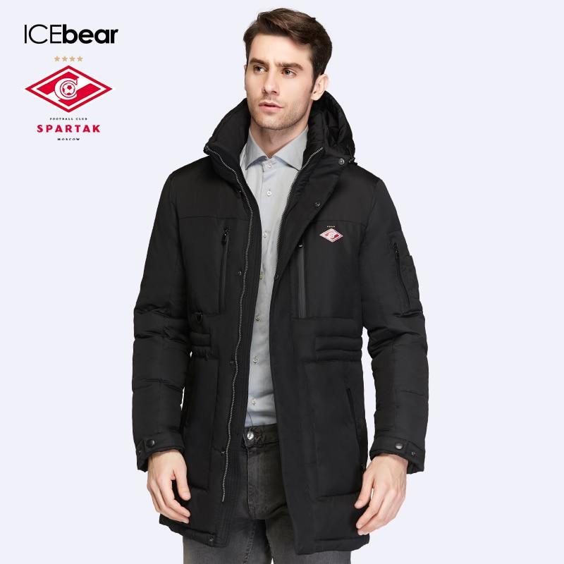 Спартак-ICEbear совместное производство 2016 Новинка Зимняя коллекция био вниз Средний Длина Для мужчин; теплая куртка с капюшоном 16M908D