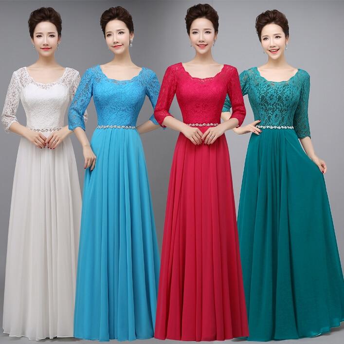 Red Back Zipped Light Blue Green Sleeved Bridesmaids Dress Modest