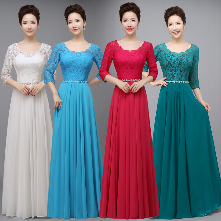 red back zipped light blue green sleeved   bridesmaids     dress   modest   bridesmaid     dresses   with sleeves plus size gown