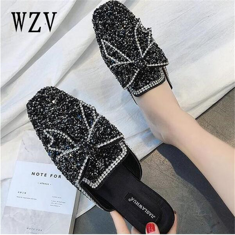 Women shoes Flips Flops 2018 Summer Flat shoes Woman Wedges slippers Fashion Rivet Crystal Platform Female Slides Ladies Shoes women sandals 2017 summer shoes woman wedges fashion gladiator platform female slides ladies casual shoes flat comfortable