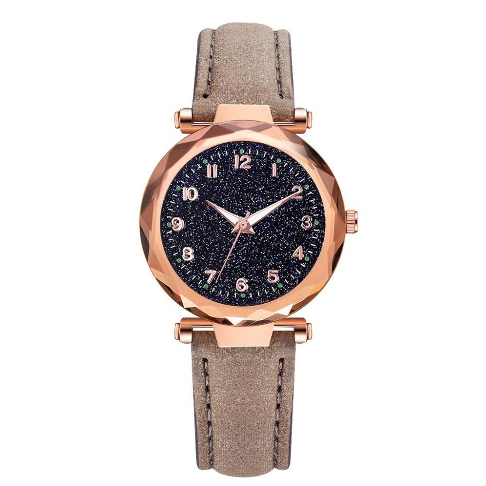 Luxury Vintage Leather Belt Quartz Watch Creative Glass Starry Sky Dial Women Ladies Wrist Watch Simple Female Relogio Feminino