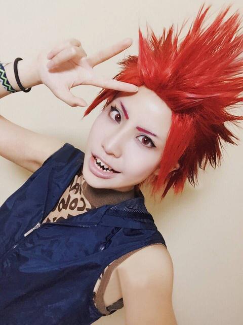 My Boku no Hero Academia Eijirou Kirishima Eijiro Short Red Wig + Cap