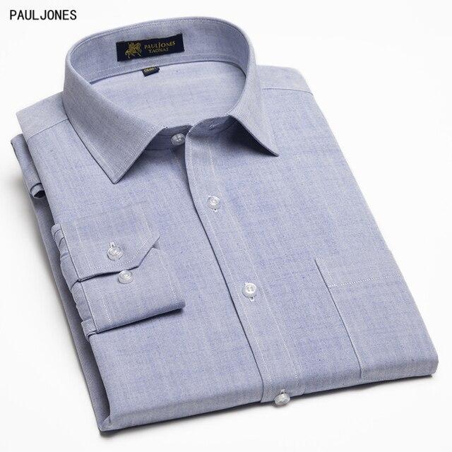 Pauljones бренд Tencel Jutecell Высокое качество Мужская с длинным рукавом Сорочки выходные для мужчин Solid Slim Fit Повседневное Бизнес социальных мужской Костюмы