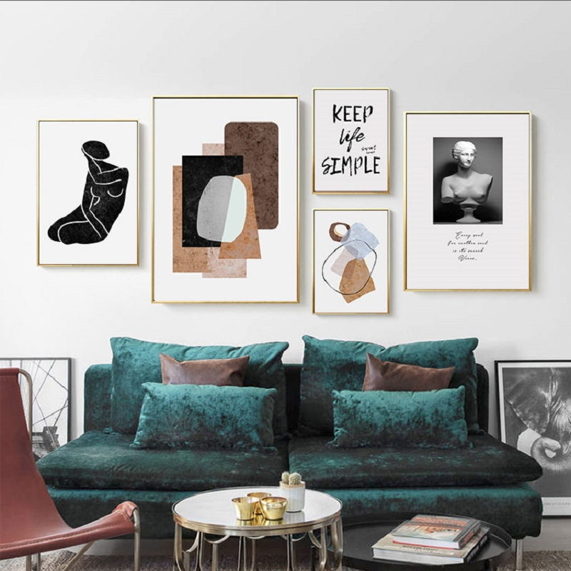 15b48230f07 Nordic Abstract Color Block Statue Art Sweet Home Canvas Paintings Black  and White Poster Print Wall Pictures Living Room Decor