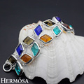 Hermosa Jewelry Classic Fashion Multicolor 925 Sterling Silver Women Bracelet 8 inches HM523