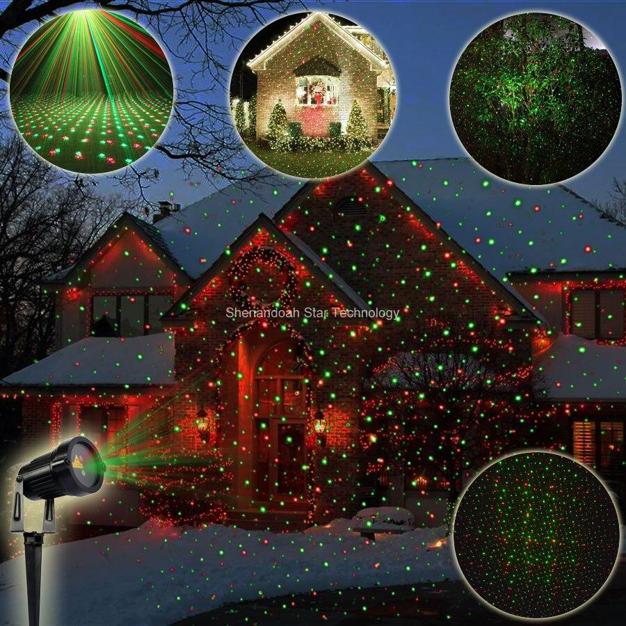 ESHINY Outdoor Waterproof R&G Laser Full Stars Patterns Projector Landscape Xmas Garden Party Tree DJ Effect Light Show N8T103