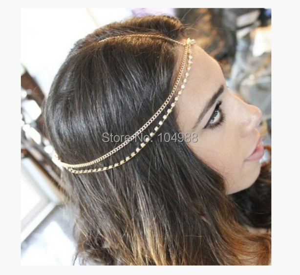 FREE SHIPPING H007 WOMEN FASHION GOLD COLOUR HAIR JEWELRY GOLD RHINESTONE CHAINS JEWELRY 2 COLORS