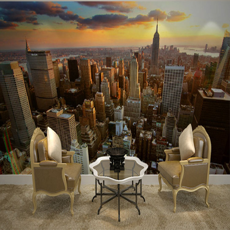 >Beautiful Sunset City Building Landscape Photo Wallpaper Modern Simple <font><b>Office</b></font> <font><b>Study</b></font> <font><b>Living</b></font> Room Backdrop Wall Mural Home Decor