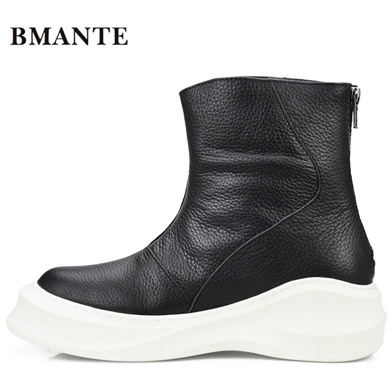 Роскошные брендовые Модные мужские повседневные высокие ботинки из натуральной кожи качественная обувь высокие ботинки на толстой подошве мужские ботинки на плоской подошве - Цвет: MY015guangmianbai