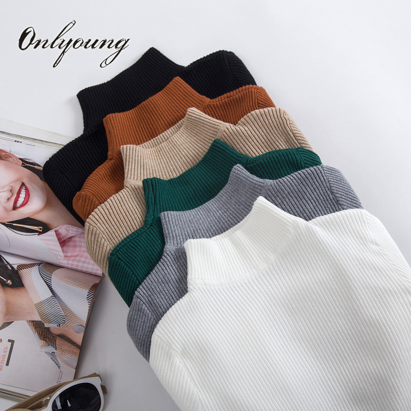 Onlyoung 2018 otoño e invierno las mujeres suéter de punto jersey de Navidad Slim blanco cálido suéter de cuello alto para mujer