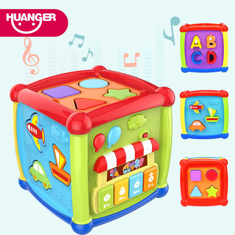 Huanger Multifunctional Musical Toys Baby Box Music Electronic Children Toys Gear Clock Geometric Blocks Sorting Educational Toy