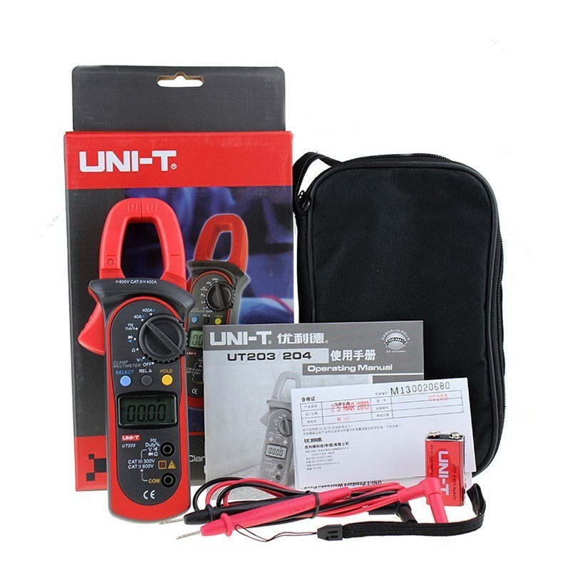 UT203 DC/AC Voltage Current Digital Clamp Meter LCD Digital Auto Range Clamp Multimeter with Resistance, Frequency  Measurement  цены
