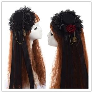 Image 3 - Noir Mini haut chapeau pince à cheveux mignon gothique Lolita filles Rose coiffe de tête cheveux accessoires carnaval fête de mariage carnaval