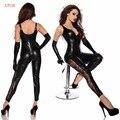 Sexy Lady Черный Кожа Молния Открытым Промежность Искушение Белье Женщин Игрушечные Клуб Костюмы Эротические Товары Для Взрослых Игры