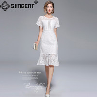 Simgent 2018 Summer Lace Dress Work Casual Slim Fashion O neck Sexy Hollow Out Dresses Women A line Vintage Vestido Jurk SG87184