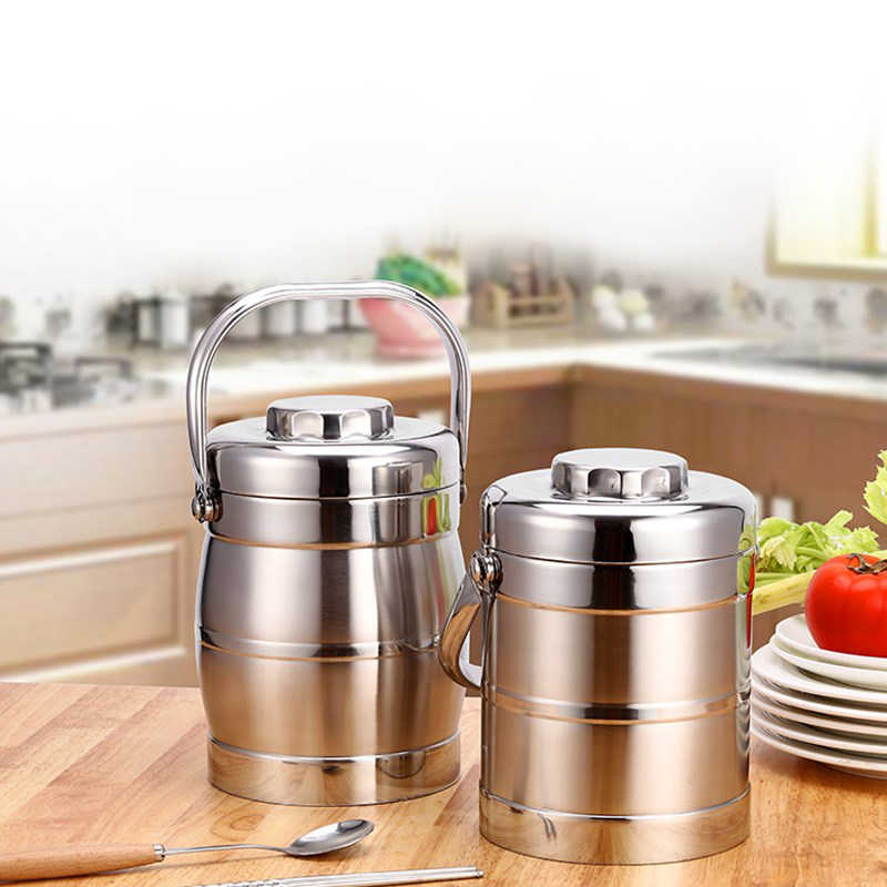 Stainless Steel Lunch Box Thermos Lunchbox School Student Bento Boxs Kids Adult Kitchen Bbq Tools Food Container Portable