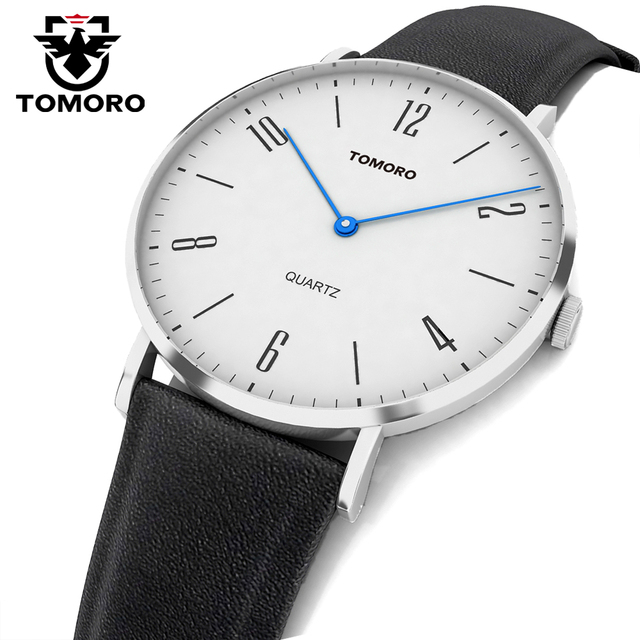 Tomoro súper delgada de cuarzo minimumism business casual cuero genuino de la marca del cuarzo de japón del reloj de los hombres de moda 2017 relojes hombre