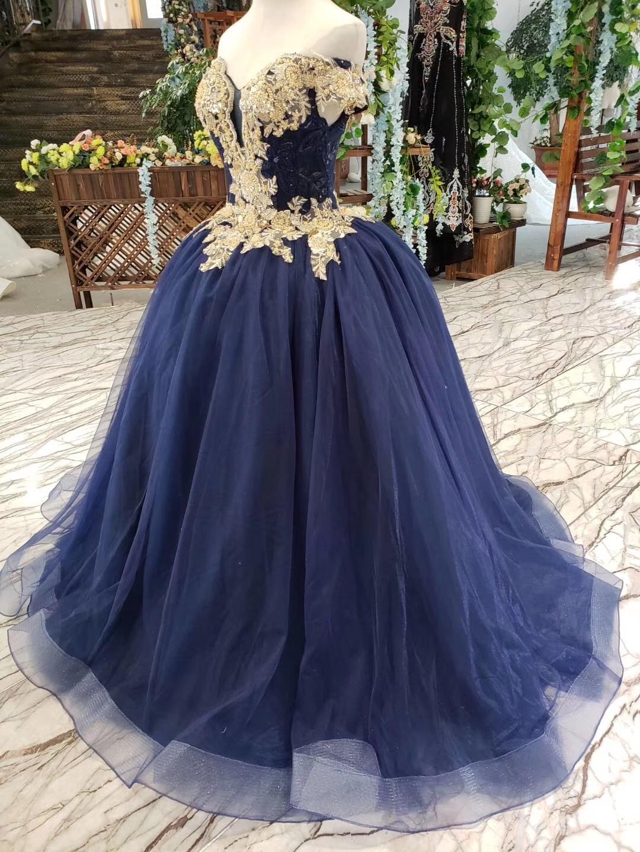 2019 longueur de plancher hors de l'épaule or perlé broderie corsage scintillant bleu marine jupe longues robes de bal - 6