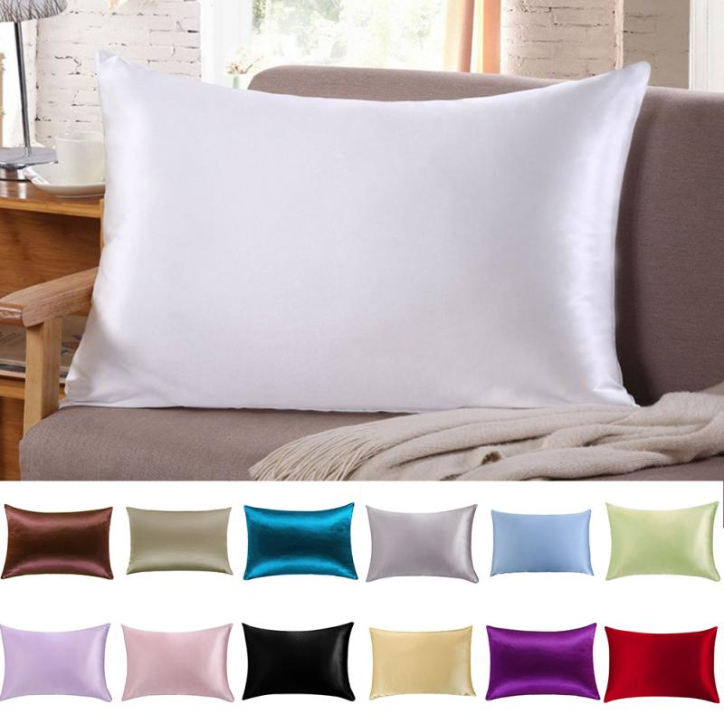 1 Pc Pillow Cover Silk Pillow Case Cushion 51cm x 76cm 13 Colors to Choose Softer Silk Pillowcase Top Quality Pillow Case(China)
