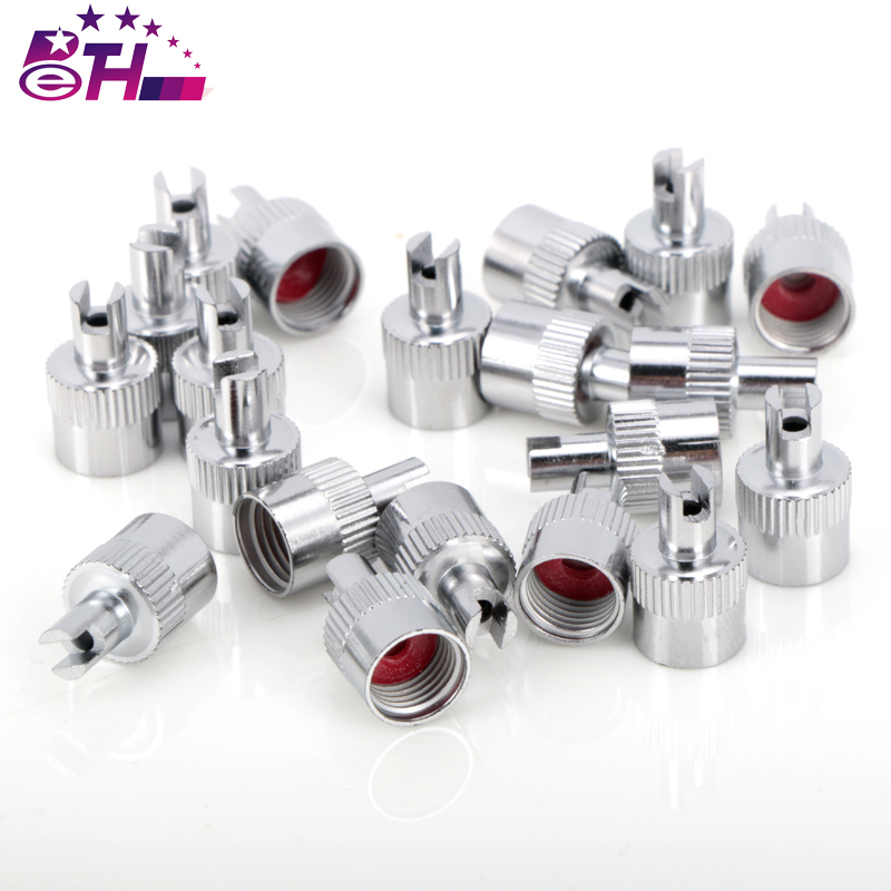 10PCS Motorcyle Car Chrome Metal Slotted Head Valve Stem Caps With Core Remover Tool auto car styling slotted handle tire valve stem core remover screwdriver valve stem core remover tire repair install tool se 05