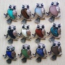 Модные Винтажные Подвески с медным покрытием в виде совы, натуральный тигровый глаз, оникс, опал, для изготовления ювелирных украшений, оптовая продажа, 12 шт./лот, бесплатная доставка