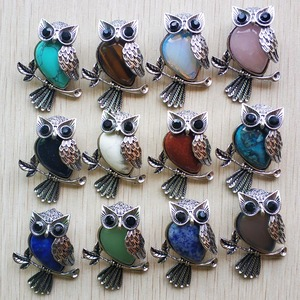 Image 1 - Fashion Vintage copper Plated Owl cute natural tiger eye stone onyx opal pendants for jewelry making wholesale 12pcs/lot free