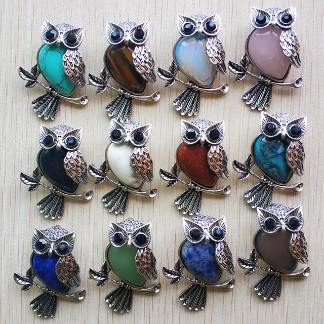 Fashion Vintage copper Plated Owl cute natural tiger eye stone onyx opal pendants for jewelry making wholesale 12pcs/lot free