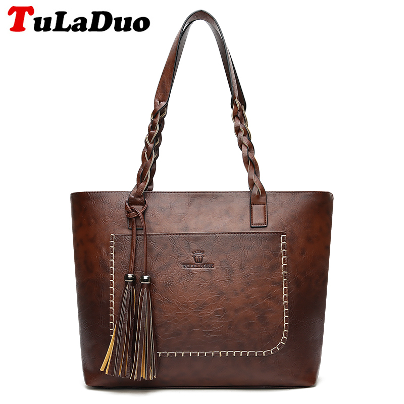 Sac Tassel Tote Fashion Large Women Leather Handbags Luxury Famous Designer Shoulder Bag Big Zip Casual Tote Bags Bolsa Feminina fashion luxury handbags women leather composite bags designer crossbody bags ladies tote ba women shoulder bag sac a maing for