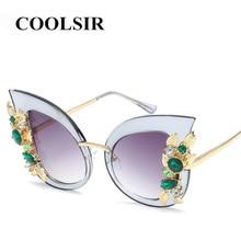 COOLSIR Diamond Sunglasses Women Brand Designer Cat Eye Sun Glasses Vintage Retro Transparent Frame UV400 Female Oculos De Sol