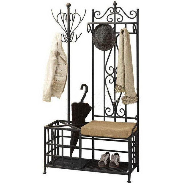 Factory Direct American Country Furniture Wrought Iron Coat Rack Hangers Umbrella Stand Multifunction Shelving Whole