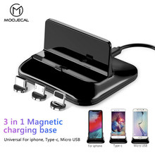 Phone Charger Holder Stand For iPhone XS Max XR X Desktop Magnetic Charging Bracket For iOS Android Type C Adapter Dock Station(China)