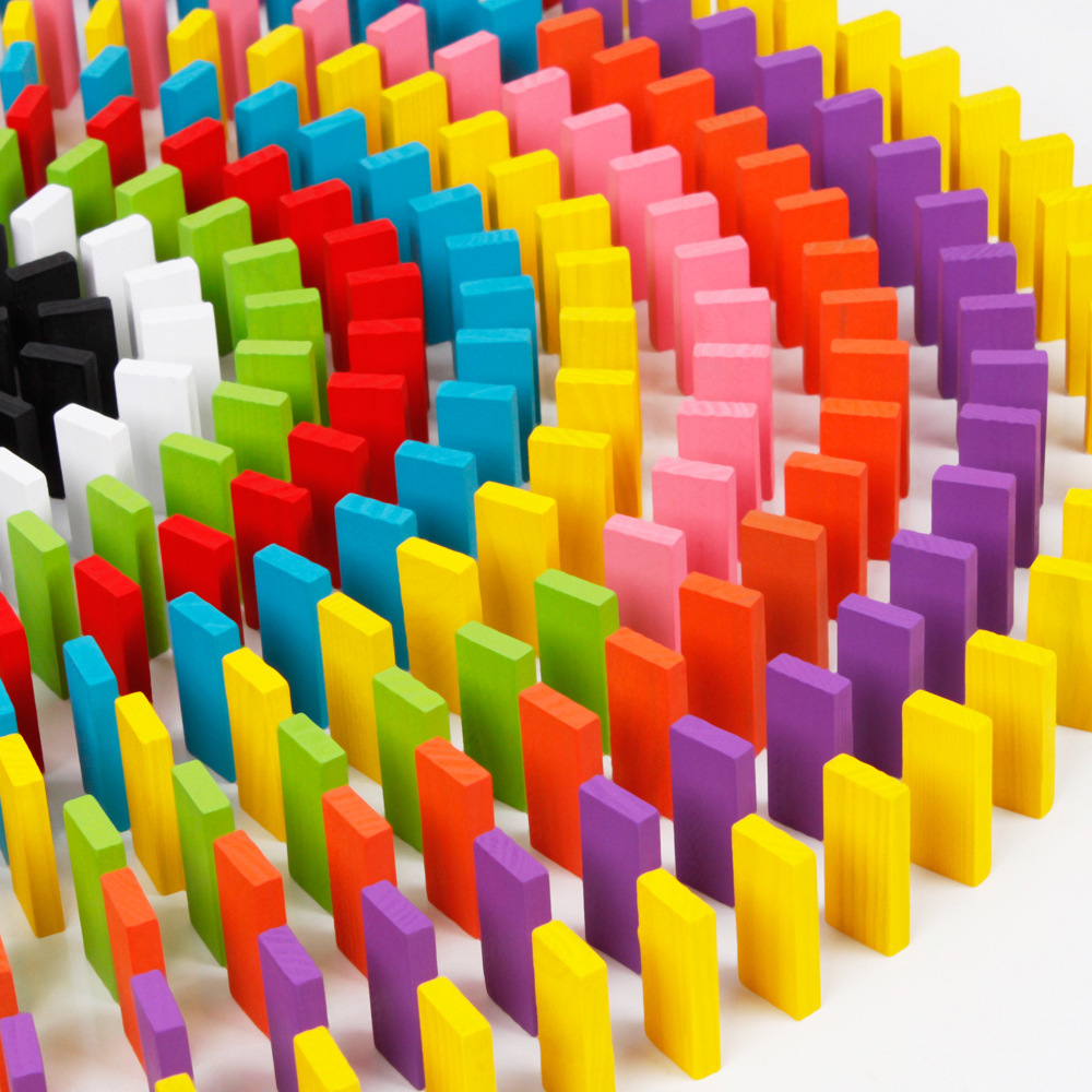 Kids toys 120 pieces colorful dominoes kids wooden building blocks preschool educational for children