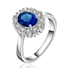 2015 new 925 sterling silver egg tag with crystal stone Blue Ring for Women Silver Jewelry Fine Fashion jewerly Finger Ring