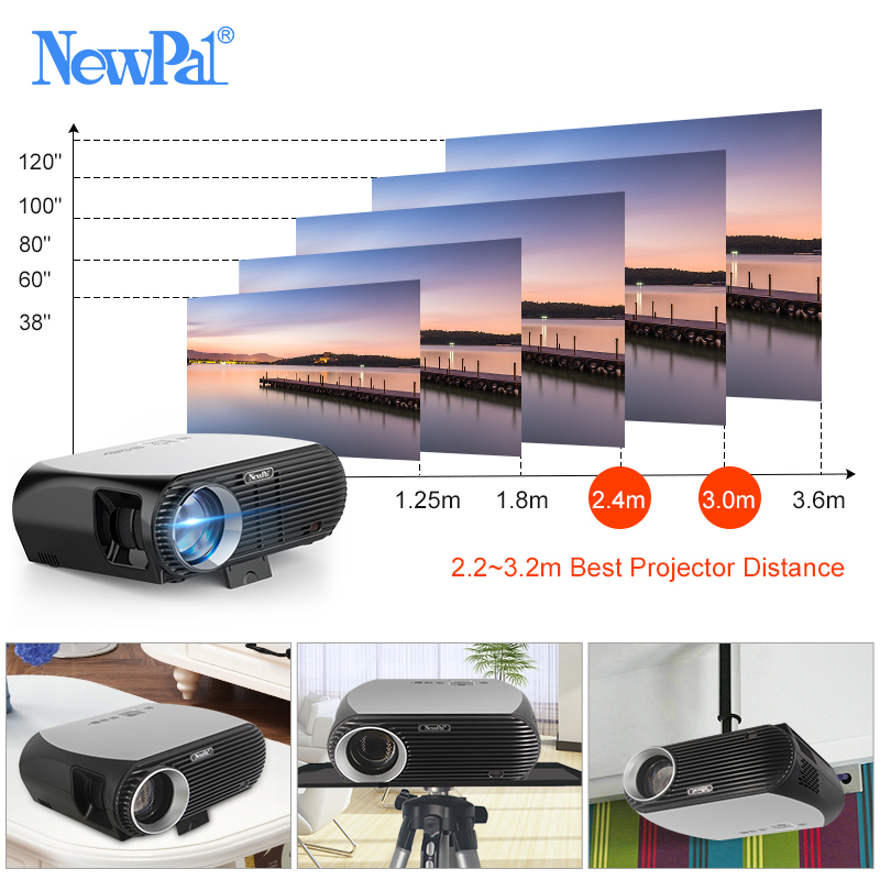 Projecteur Newpal GP100UP projecteur LED 4K Home Cinema 3500 Lumens Full HD 1080P Android 6.01 WIFI Bluetooth Miracast Beamer TV - 3
