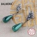 BALMORA 100% Real 925 Joyería De Plata Pura Malaquita Pendientes Retros Elegantes para la Mujer Amante Regalos de la Fiesta Bijoux SY31085