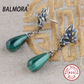 BALMORA 100% Real 925 Pure Sterling Silver Jewelry Malachite Retro Elegant Earrings for Women Lover Party Gifts Bijoux SY31085