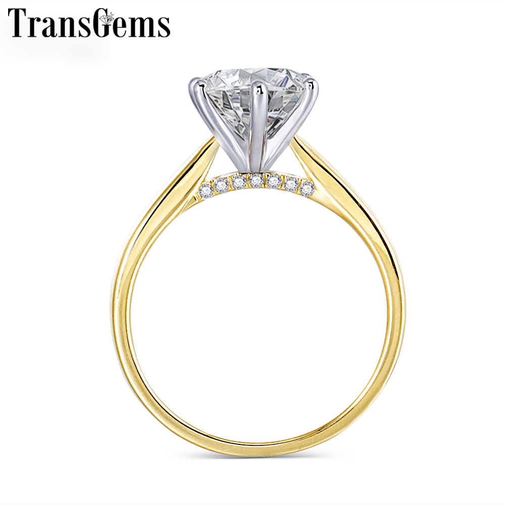 Transgems 14K 585 Two Tone Gold Moissanite Engagement Ring for Women Center 2ct 8mm F Color VVS Moissanite Gold Ring with Accent цены онлайн