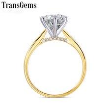 Transgems 14k 585 dois tons de ouro moissanite anel de noivado para mulher centro 2ct 8mm f cor anel de ouro com acento