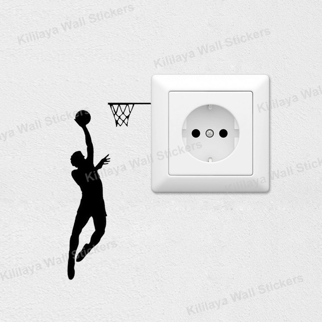 3Pcs/Lot Basketball Player Dunking Wall Sticker Switch Decal