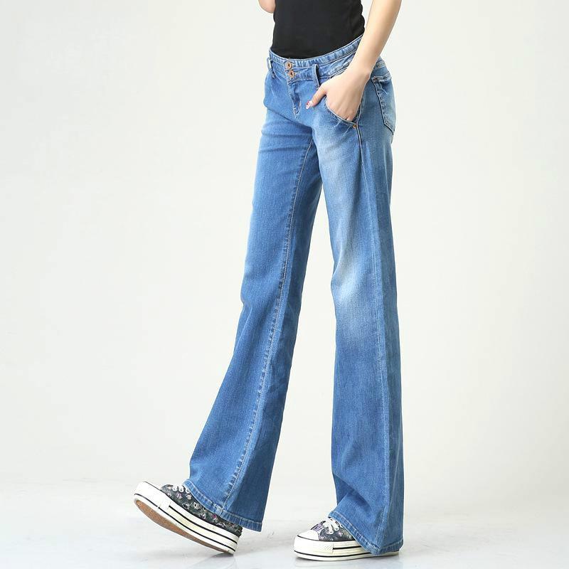 WQJGR Boyfriend Jeans For Women Blue Full Length Jeans Woman High Quality Wide Leg Pants Women Jeans