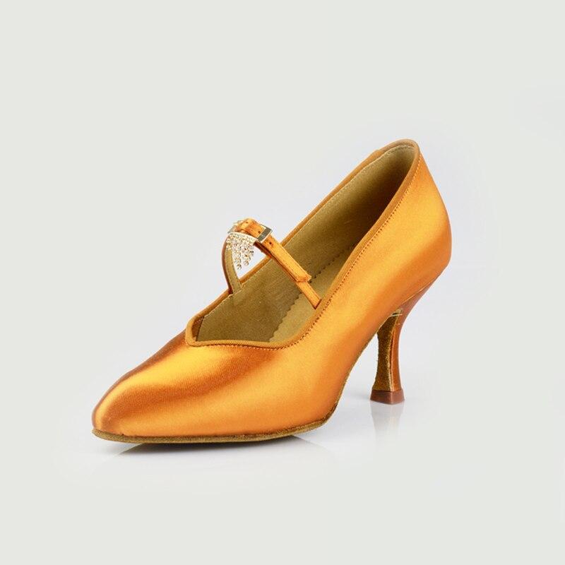 Chaussures de danse de salon danse latine Flash Satin chaussure carré danse avec diamant bout fermé femme marque sociale Discount BD 139 chaud