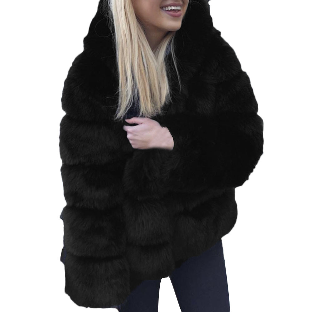 Hood Faux Fur Coat