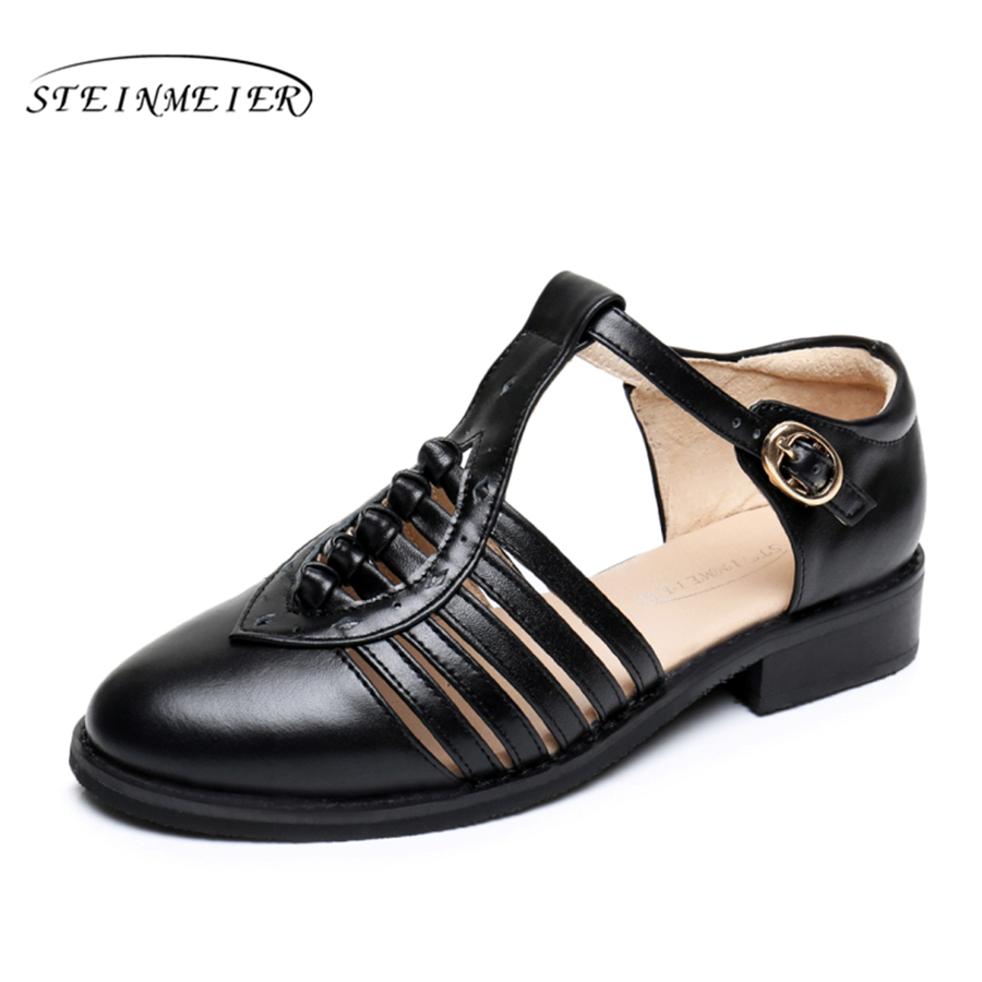 100% Genuine cow leather lady Sandals flats shoes designer vintage handmade oxford shoes for women 2018 black grey white US 11 women genuine leather oxford sandals shoes 5cm thick designer vintage high heels sandals round toe handmade white grey pumps