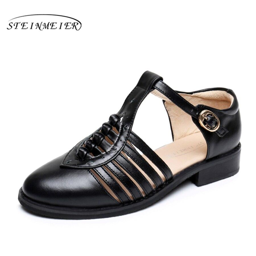 Cow leather big woman US size 11 designer vintage flat shoes Sandals handmade black white brown grey 2017 oxford shoes for women imc vintage women flat shoes white us4 eur35 length 22 5cm