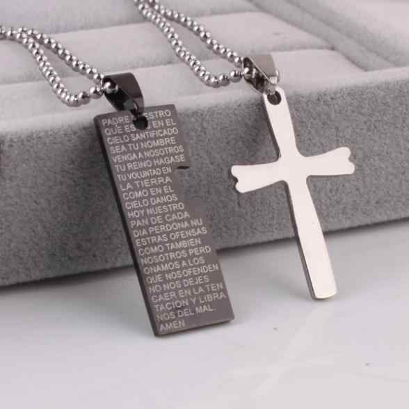 free shipping Lovers cross Holy Bible pendant necklaces bead chain for men women 316L Stainless Steel necklace wholesale