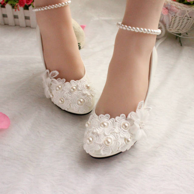 8c189562b507 Wedding shoes for women new design ivory lace low high heels flowers pearls  anklet woman bridal
