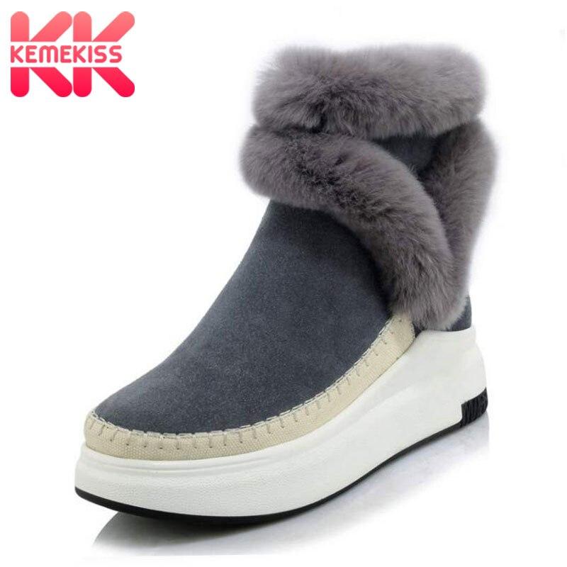 KemeKiss Women Real Leather Thick Fur Snow Boots Women Thick Platform Zip Booties Women Warm Plush Winter Botas Size 34-39