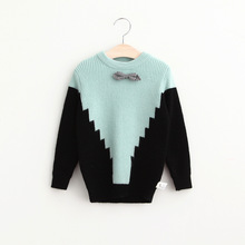 2016 Baby Girls Knit Bow Sweaters Kids Girls Knitted Crochet Pullover Girls Autumn Fashion Jumper tops Children's clothing